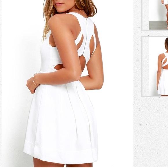 7eea36ce9 Lulu's Dresses | Lulus White Strappy Back Skater Dress | Poshmark